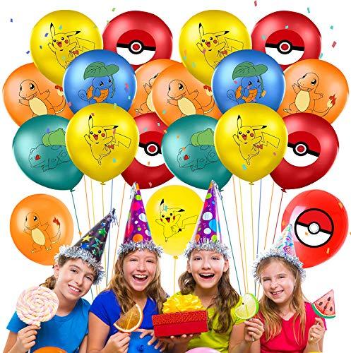 Qemsele Globos para fiestas de Niños, 50Pcs Globos Fiesta Cumpleaños Decoración Dibujos animados 12inch Globos de latex con confeti dentro y Cintas, para Favores Regalo Carnaval Boda(Pokemon)