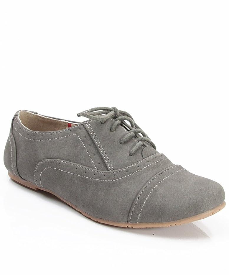 Nature Breeze Cambridge-03 Nubuck Lace Up Oxford Flat Shoes Dark Grey (6.5)