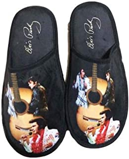 Midsouth Products Elvis Presley Slippers with Guitar Art - One Size Fits Most