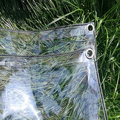 Lona Transparente de PVC Carpas de Impermeable 0.3mm Tela de Plástico,Protectora Cubierta para la Vegetación del Coche Invernadero Techo Camping,con Ojales,400g/㎡,Personalizable(1.6x3m/5.2x9.8ft)