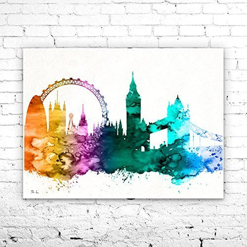 London 4 Watercolor Illustration Print, London Painting, London art, City Skyline, UK print, Home decor, Tower bridge, City Silhouette