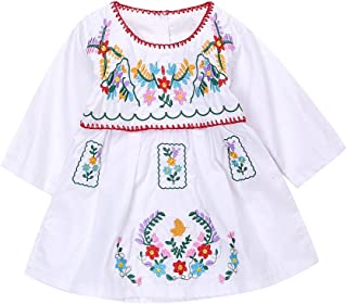 Newborn Toddler Baby Girls Ethnic Embroidery Floral Dress Long Sleeve Party Sundress Skirt