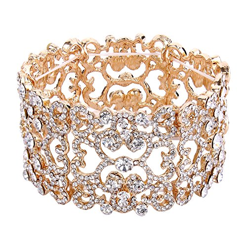 EVER FAITH Women's Austrian Crystal Bride Heart Art Deco Elastic Stretch Bracelet Clear Gold-Tone