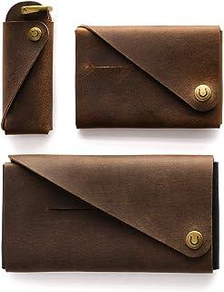 Juego de fundas de cuero para iPhone 11, 11 Pro, 11 Pro Max   Wood Brown Minimalista Cartera Porta llaves/Organizador Fund...