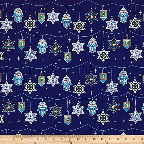 Michael Miller Holiday Of Lights Metallic Peace, Love And Light Quilt Fabric By The Yard, Royal