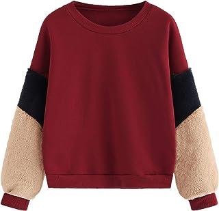 6e8826b334d5 SheIn Women's Faux Fur Long Sleeve Casual Color Block Crop Pullover  Sweatshirt