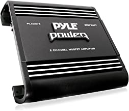 2 Channel Car Stereo Amplifier - 2000W Dual Channel Bridgeable High Power MOSFET Audio Sound Auto Small Speaker Amp Box w/ Crossover, Bass Boost Control, Silver Plated RCA Input Output - Pyle PLA2378