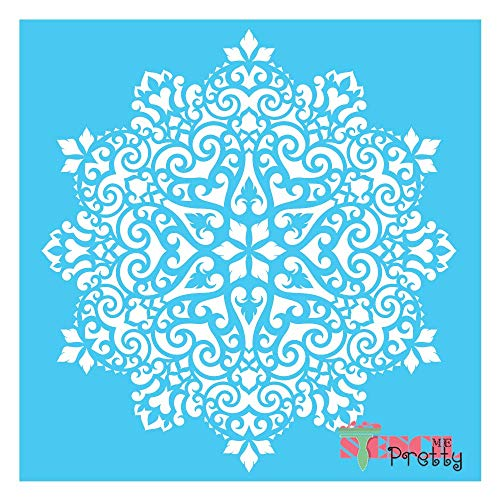 """Intricate Modello-Damask Center Circle Stencil Best Vinyl Large Stencils for Painting on Wood, Canvas, Wall, etc.-XL (19.5"""" x 21"""")  Brilliant Blue Color Material"""