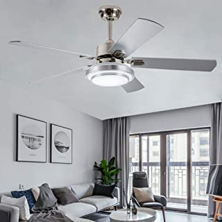 Modern 52'' Ceiling Fan With LED light and Remote Control 5 Wood Reversible Blades For Home Indoor Living Room Bedroom Quiet Silver