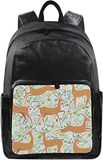 Cartoon Deer And Plant Simple Backpack School Bags Casual Stylish Outdoor Sports Large Capacity Casual Travel Rucksack Student College Bookbag for Men Women Teenagers Black
