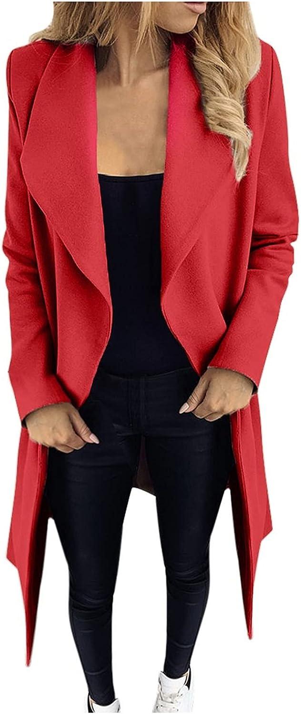 Women Peacoat Trench Coat Casual Long Overcoat Lapel Cowl Neck Open Front Slim Warm Winter Cardigan Outwear