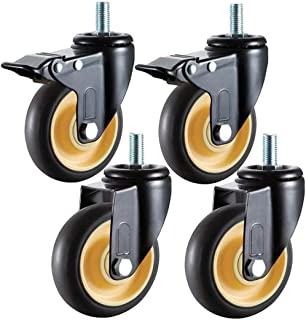 Caster FANYF M12 - Transport Casters Wheels, Swivel Rubber Wheels - With Brakes, Black Furniture Castors, Office Chair Rep...