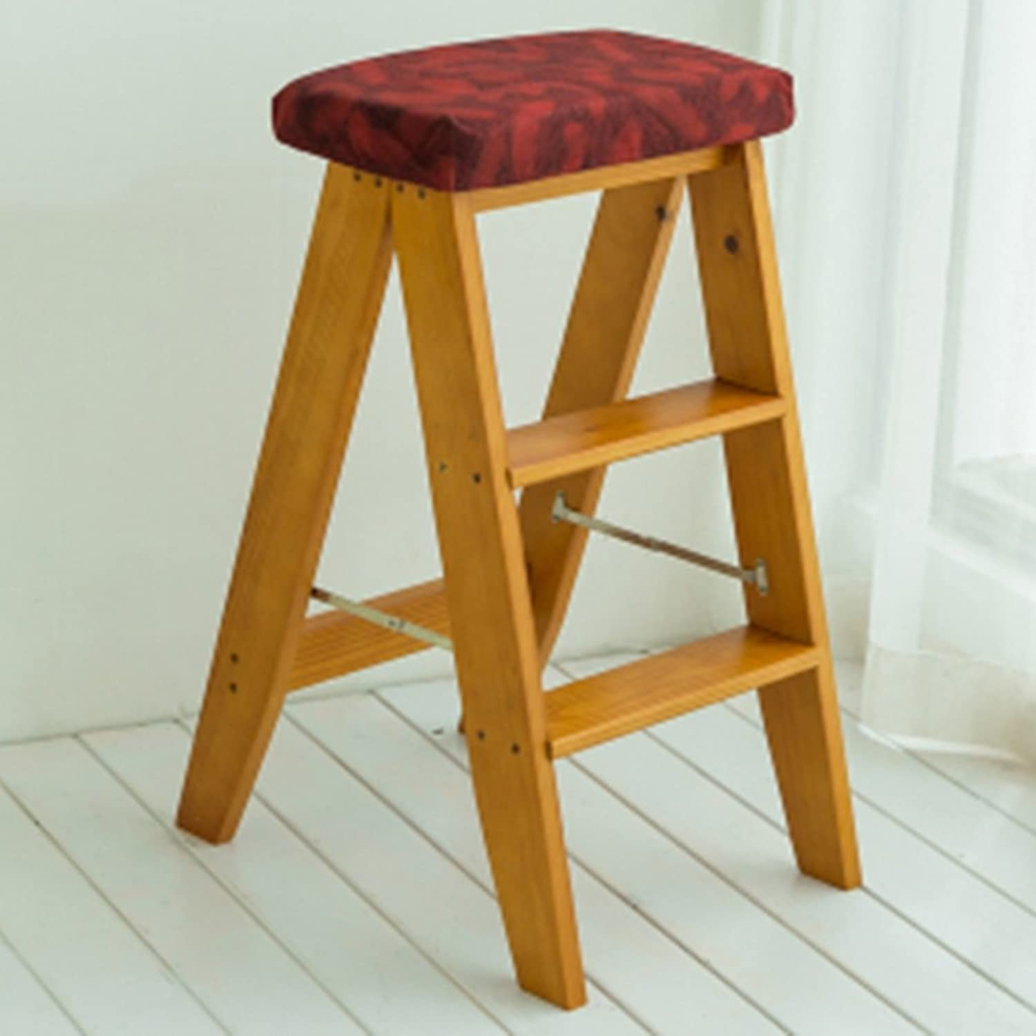 BLRYP Non-slip step stool Folding Ladder Stool Indoor Household Kitchen Stool Chairs Portable Solid Wood Small Stool Multi-functional Non-slip Treads Stepladder Stool color Optional, 343260cm Slip r