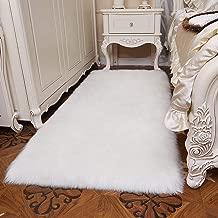 YJ.GWL Modern Fluffy Faux Sheepskin Fur Rug (3' x 5') for Bedroom Living Room Plush Carpet Bedside Area Rugs, Rectangle White