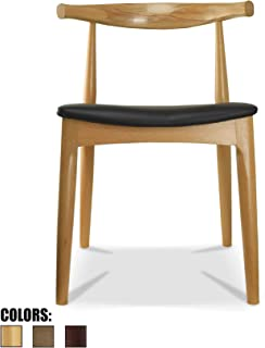 2xhome Contemporary Farmhouse Real Solid Oak Wood PU Leather Cushion Mid Century Modern Dining Chairs Desk Armless No Arm Elbow Side Chair Hans Wegner for Living Room Bedroom Kitchen Natural … …