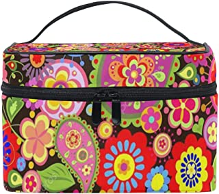 Travel Cosmetic Bag Hippie Flower Toiletry Makeup Bag Pouch Tote Case Organizer Storage For Women Girls