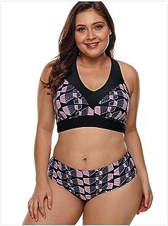 Jieming 女性のプラスサイズの水着文字列装飾ハイウエストツーピースセクシーなビキニでプリントパターン (色 : Black Patterns, サイズ : XXL)