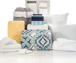 OCM 20 Piece Comfort Pak Kaleidoscope Navy Twin XL College Dorm Bedding and Bath Set