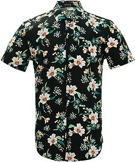 Men Print Shirt Short Sleeve Casual Button Down Beach Floral Print Men's Hawaiian Shirts