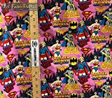 100% Cotton Fabric Quilt Prints DC Comics Wonder Woman Super Girl and Batgirl Licensed 45' Wide Sold by The Yard