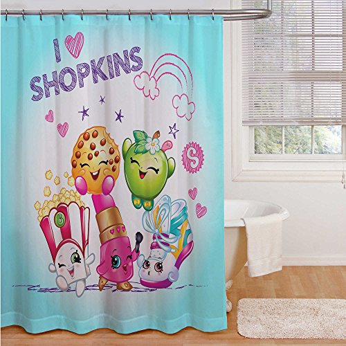 Shopkins 'I Love Shopkins' Microfiber Shower Curtain - 72' by 72' - Apple Blossom, Poppy Corn, Lippy Lips, Kooky Cookie and Sneaky Wedge