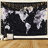 Starry World Map Tapestry Constellations Tapestry Black and White Map Tapestry Galaxy Tapestry for Room