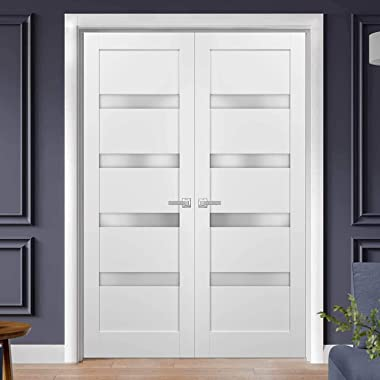 French Double Panel Lite Doors 72 x 84 with Hardware   Quadro 4113 White Silk with Frosted Opaque Glass   Panel Frame Trims  
