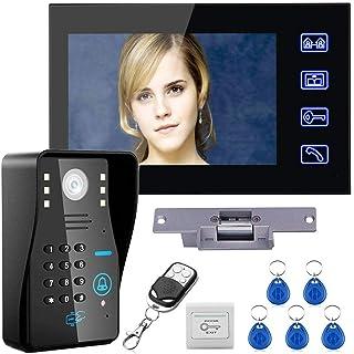 "Touch Key 7"" Lcd RFID Password Video Door Phone Intercom System Kit+ Electric Strike Lock+ Wireless Remote Control unlock"