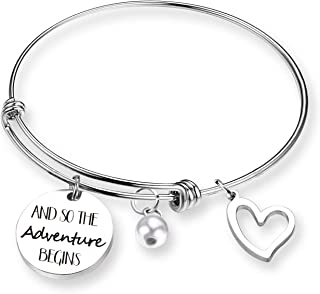 and So The Adventure Begins Travel Bracelet Graduation Gift - Class of 2018 2019 Gift Inspirational Bangle