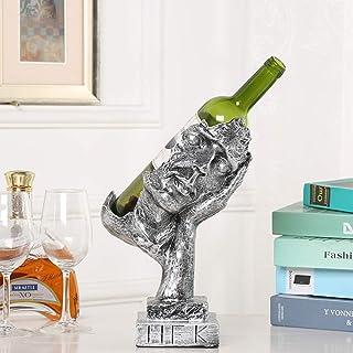 Support de stockage de vin Statues Art Visage humain Casier à vin Sculpture abstraite en résine Étagère à vin pour salon A...