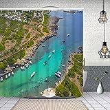 YANAIX Cortina Ducha Impermeable,Antena de la Ciudad de Binibeca Menorca España,Impresión de Cortinas baño con 12 Ganchos 150x180cm