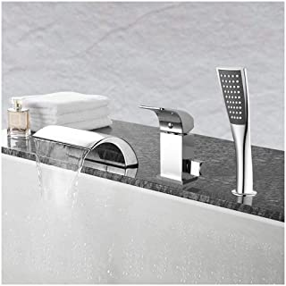 Aposhion Waterfall Bathtub Hand Shower Single Handle 3 Holes Contemporary Chrome Finish Bathroom Tub Sink Faucet, L4.53 W7.09 H2.36 inch