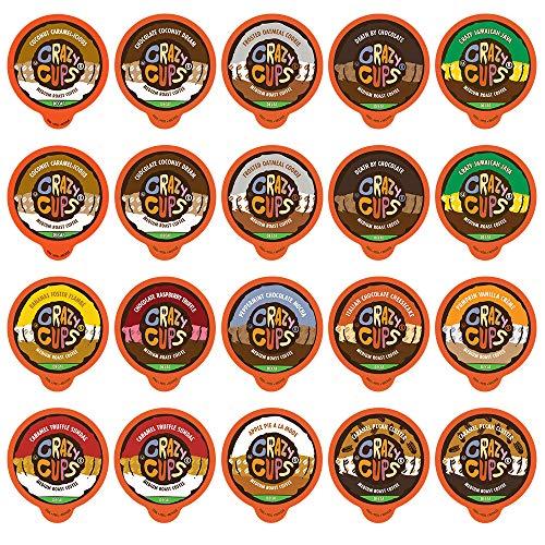 Crazy Cups Flavored Decaf Hot or Iced Coffee Single Serve Cups For Keurig K Cup Brewer Variety Pack Sampler, 20 Count (Decaf Sampler)