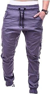 Mogogo Mens Cozy Pockets Standard-fit Elastic Waist Drawstring Running Jogger Bottom Pants