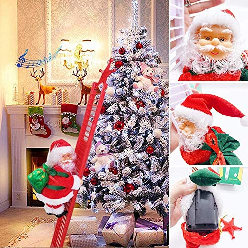 Electric Climbing Santa Claus on Ladder, Christmas Creative Decoration with Music and LED Light, Plush Climbing Ladder Santa Doll Toy Christmas Tree Hanging Ornament for Party Home Door Wall Decor
