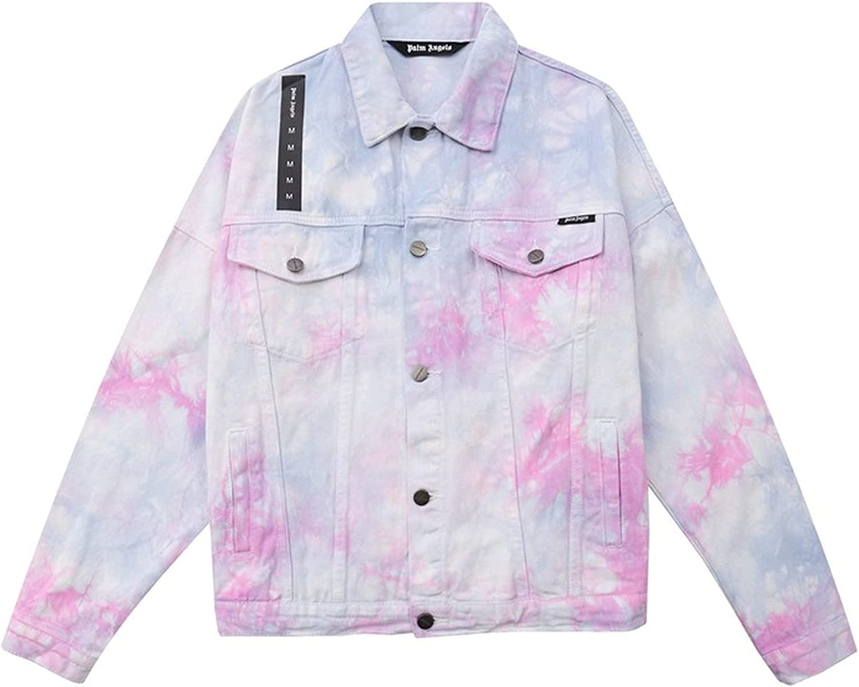 Palm Angel Jacket Tie-Dye Kansas City Mall Color 55% OFF Casual Fashio Print Denim
