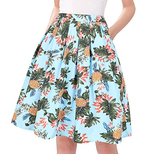 Taydey A-Line Pleated Vintage Skirts for Women (2XL, Pineapple)