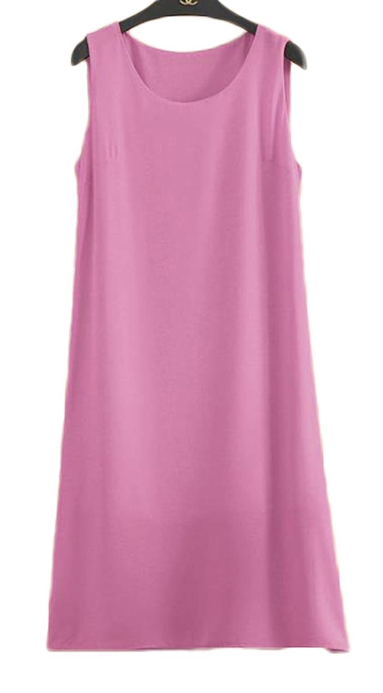 ZhongJue(ジュージェン) レディース ロング キャミソール ゆったり 袖なし ワンピース 無地 カジュアル フェミニン ワンピース ノースリーブ ファッション ロング タンクトップ 夏 大きいサイズ