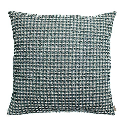 Vivaraise - Coussin Naga Vichy avec garnissage Moelleux –Housse Amovible 100% Coton lavé Stonewash – Taie d'oreiller Lavable - Tissage nid d'abeille XL