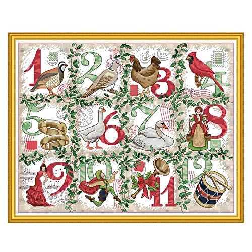 Joy Sunday 12 Days of Christmas Counted Cross Stitch Kit Stitched on 14 Count Aida Not Printed Fabric Finished Size 44x35CM - Beautiful Christmas Cross Stitch kit