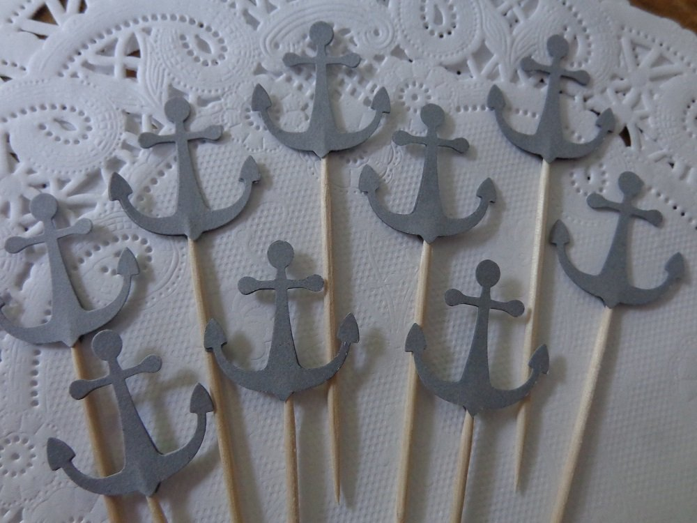Anchor Cupcake Toppers - High quality new Bargain sale Picks Party Grey Foo
