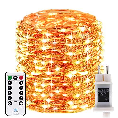 RcStarry innen/Außen 500 LEDs 50 Meter kupferdraht aufblitzende Lichterkette IP68 Wasserdicht 8 Modi mit Fernbedienung und Timer DIY Dekoration für Weihnachten, Garten, Hochzeit - Warmweiß
