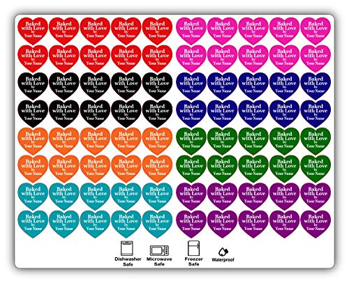 """Personalized Baked with Love Stickers. 80 Heart Shaped Labels. Custom """"Baked with Love"""" Labels. Customized Your Text and Color. for Baking and Cooking."""