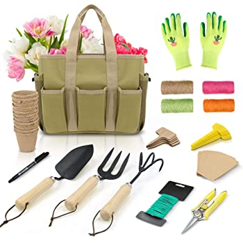 Garden Tools Set - 47 Piece Carbon Steel Heavy Duty Gardening Kit with Wooden Handle, Include Gardening Bag, Hand Rake Fork Trowel Gardening Accessories - Gardening Gifts Tools for Women