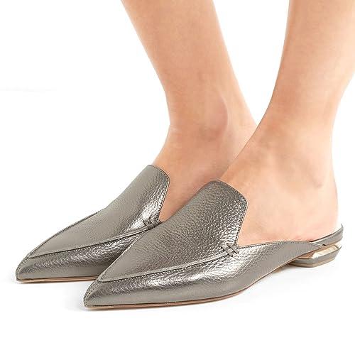 1080b439793b FSJ Women Fashion Faux Suede Mules Sandals Pointy Toe Casual Slip On Shoes  Low Heels Size