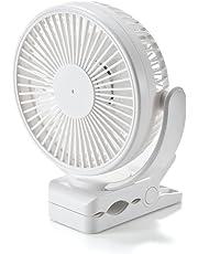 サンワダイレクト USB扇風機 充電式 マグネット/クリップ/直置き 設置 3段階風量 タイマー付き 360° 静音 ホワイト 400-TOY039W
