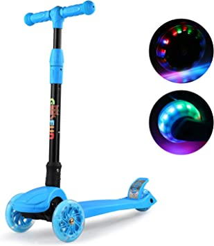 GOSFUN Patinete 3 Ruedas con LED Luces,Diseño Scooter Plegable para Niños de 3 a 12 Años,Alturas Ajustables 64-69-76-83 CM