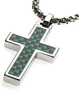 CERAMIC GESTALT Unique Tungsten Cross Pendant. Surgical Stainless Steel Box Chain. Black & Green Carbon Fiber Inlay.