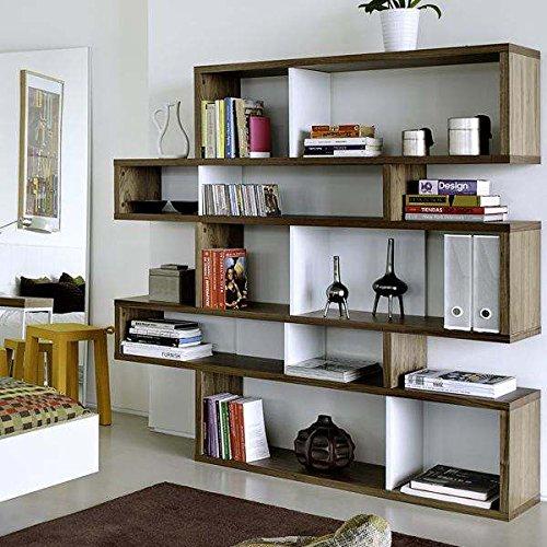 étagères contemporaines en bois, LONDON est réversible, trois dimensions, plusieurs options de finition - Design Temahome - déco et design - 160 x 155 x 34 cm (HxLxD) - noyer / fonds blancs