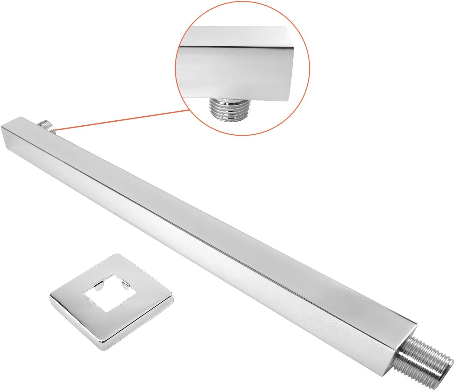 With Flange and Teflon Tape Brushed Nickel Rain Shower Head Extension Extender Made of Thicken Stainless Steel for Bathroom Rainfall Showerhead NearMoon 16 Inch Shower Arm